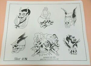 Vintage 1976 RARE Spaulding & Rogers Tattoo Flash Sheet #48N Skulls Devil