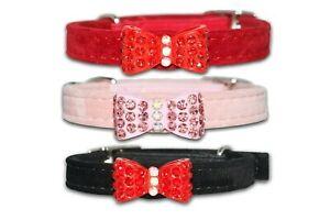 Cat Collar Diamante Safety Elastic Bell Bowtie Pink Black Red Purple Felt Velvet