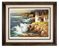 """New England Lighthouse"" by Tom Nicholas Franklin Mint Signed Lithograph w/ CoA"