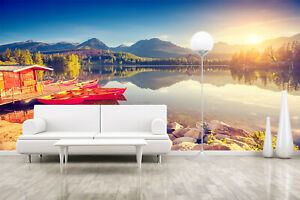 3D Morning Sunrise Landscape Self-adhesive Living Room Wallpaper Wall Murals