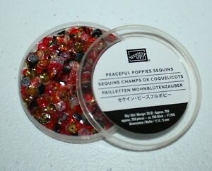 Stampin Up Retired PEACEFUL POPPIES SEQUINS Red Gold Black NEW RARE HTF