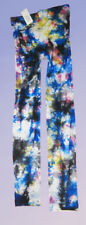 Tie Dye Footless Tights. Hippy punk opaque 8-14 black white blue festival