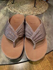 Fitflop Women's New TWISS Crystal Oyster Pink Toe-Post Sandals Sz EU 42 - US 8 M