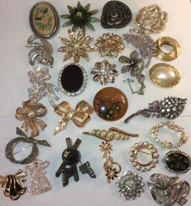 Job Lot Vintage Modern Brooches Silver Gold Plate Kagu Jerusalem Crystal Enamel