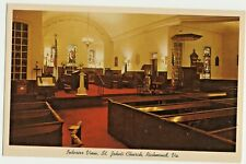 VINTAGE POSTCARD Interior View ST JOHNS CHURCH RICHMOND VA / Cussons May & Co