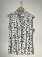 Hobbs Women Top Size XL Extra Large White Black Sleeveless Stretch