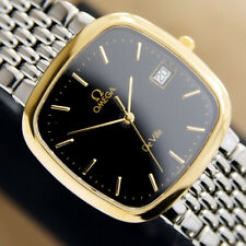 Authentic Omega DeVille Square Date Black Dial Gold Plated Quartz Mens Watch