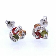 8mm Women Earring Multi-color Crystal CZ 18K White Gold Plated ZN Stud Earrings