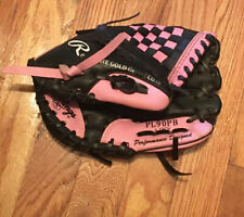 Rawlings Girls PL90PB 9 Inch Kids Pink Black T Ball Glove Good Condition