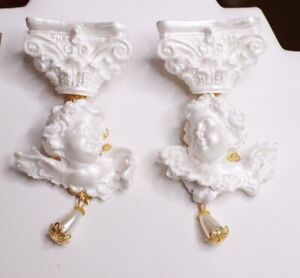 Zibellini  White Architect Baroque Roman Column Pearl Chubby Cherubs Angels Stud