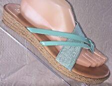 ITALIAN SHOEMAKERS Women 10 Wedge Thong Stretch Sandal Turquoise Aqua Flatform