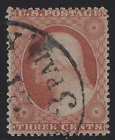 US Stamps - Scott # 25 - 3c Washington - Fancy Paid Cancel               (L-475)