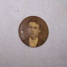 ANTIQUE CELLULOID REAL PHOTOGRAPH PIN BACK-YOUNG MAN-STRIPE SHIRT-MEMORIAL?