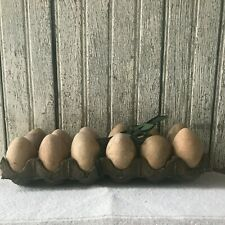 Primitive Dozen Lightweight Plastic Brown Eggs In Cardboard Carton Farmhouse