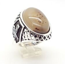 925 STERLING SILVER HANDMADE SPECKLE AGATE MENS TURKISH OTTOMAN TUGHRA RING 10