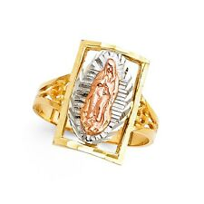 Lady Guadalupe Portrait Ring 14k Yellow White Rose Gold Virgin Mary Band Fancy