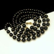 MONET Vintage Necklace Black Acrylic Gold Plated Beads Long 31 inches