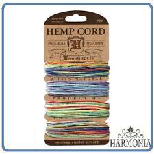 HEMPTIQUE 100% Pure  HEMP CORD CARD  VARIEGATED 2   #20 1 mm Cord  9.1 m x 4