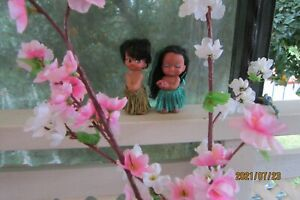 Vintage Pair Female and Male Rubber Hawaiian Hula Doll, Made in Hong Kong