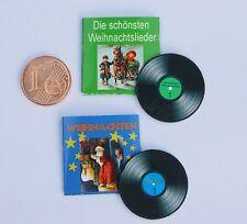 2 Schallplatten Weihnachtslieder  Miniatur 1:12 Puppenstube Puppenhaus Diorama