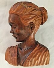 """Signed J Pinal Brown 5X6.5"""" Carved Wood ELENA Girl Woman Bust Figurine"""