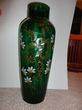 Bohemian Hand Painted Antique Enameled Green Glass Victorian Vase Gold & Floral