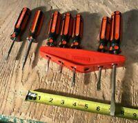 Stanley Screwdriver Set Of 6 + Wall Mount Holder Orange Black Handles Handyman