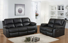 Luxury Valencia 3+2 Seater Bonded Leather Recliner Sofa - Black/Brown