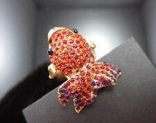 R28 BETSEY JOHNSON Exquisite Gold Fish Koi Gosanke Gemstone Ring US