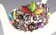 NEW MULTICOLOR LUCITE CRYSTALS EXPANDABLE OPEN-END 2-INCH WIDE CUFF BRACELET