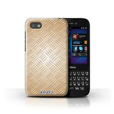 STUFF4 Case/Cover for Blackberry Q5/Embossed Metal Effect/Gold