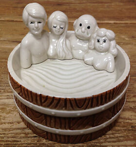 Enesco 1979 Nudes Swingers Two Couples RARE Hot Tub Covered Box RACY Boobs 1970s