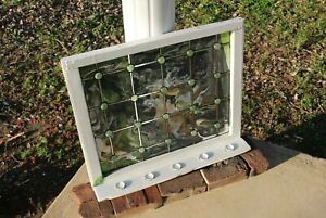 Handmade Stained Glass, Vintage 1910 Window, Candle Holder - Title: Green Sea