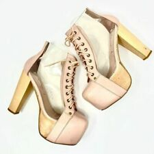 Jeffrey Campbell Clear Lita Cleata Heels in Pale Pink Platform Lace Up Size 10