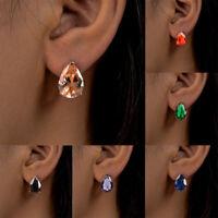 Fashion Jewelry Woman Round Crystal Rhinestone Ear Hoop Earrings Bridal Gift