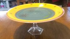 Yellow and Light Blue w/Daisies ~ Footed Cake Plate