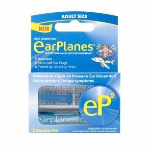 EarPlanes eP2 Reusable Earplugs - Protection From Flight Discomfort - 1 Pair