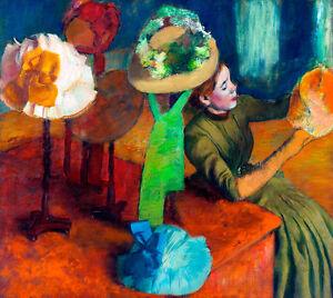 The Millinery Shop by Edgar Degas 75cm x 66cm High Quality Canvas Print