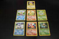 Pokemon Trading Cards Base Set Lot of 7 Pikachu Bulbasaur Charmander Squirtle