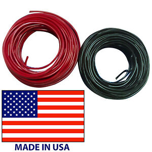 10 Gauge Primary AWG Wire 25' FT Each Red & Black Stranded Copper - Made In USA