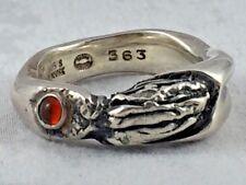 Georg Jensen Sterling Red Stone Ring #363 by Kortzar - Size 5 1/2