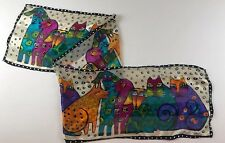 LAUREL BURCH Oblong SILK SCARF CATS DOGS Multi Colored Black White DOTS 10 x 50""