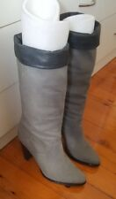 WITTNER Suede All Leather Grey Calf Knee High Block Pull On Leather Boots 38 B4