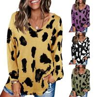 Womens Long Sleeve Casual Shirt Blouse Loose Lady V-Neck Polka Dot Tops Clothes
