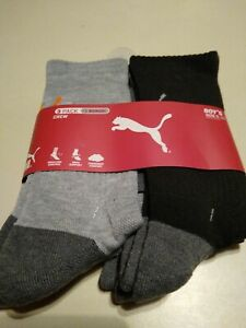 Puma Youth Boys Crew Socks 4 pairs pack Size 9-11 Multicolor Shoes Size 4- 9.5