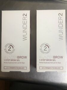(2) Wunder2 Wunderbrow 1-Step Brow Gel Jet Black NEW Perfect Eyebrows