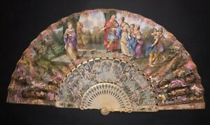 EXQUISITE ANTIQUE 18TH HAND PAINTED ALEXANDER SCENE FILIGREE CHINOISERIES FAN