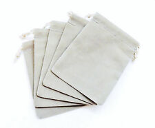 NEW 5 Pieces 3 x 4 Velveteen Cloth Dice Bags  – RPG Dice Pouch – Gray