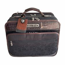 Brighton Rolling Luggage Bag Laptop Overnight Travel Carry On VGC Leather Silver