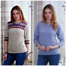 KNITTING PATTERN Ladies Long Sleeve Diamond Lace Jumpers DK King Cole 4683